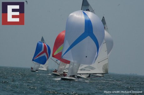 E-scows with spinakers flying