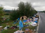 The migrants leave their trash as they move through the area on their way to Germany.