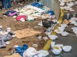 Locals are faced with piles of trash and feces as the migrants move through town.